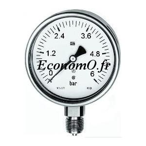 """Manomètre Radial -1 à 5 bars en Inox à Glycérine D63 M 1/4"""" (8 x 13) - EconomO.fr"""