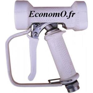 """Pistolet de Lavage Laiton Chromé Revêtement EPDM Blanc avec Protection Main 95°C 24 bar 1/2"""" (15 x 21) - EconomO.fr"""
