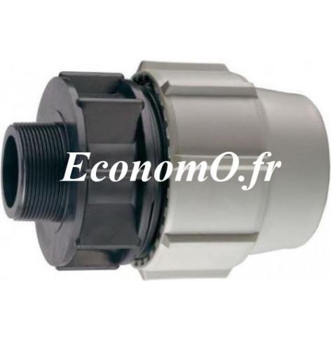 AMA Raccord /à T pour PE 25 mm filet/é 3//4 M