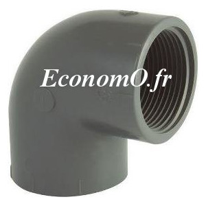 """Coude à 90° PVC Pression PN 16 Femelle à Coller Ø 16 Femelle à Visser 3/8"""" (12 x 17) - EconomO.fr"""