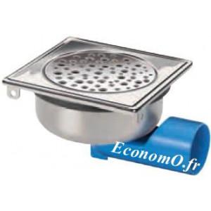 Siphon de Sol Ajustable en Acier Inoxydable 146 x 146 x 60/77 mm Grille à Trous Ronds - EconomO.fr