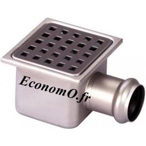 Siphon de Sol en Acier Inoxydable 105 x 105 x 62 mm Grille à Trous Carrés - EconomO.fr