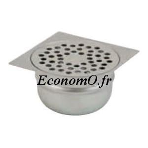 Siphon de Sol en Acier Inoxydable 100 x 100 x 55 mm Grille à Trous Rond - EconomO.fr