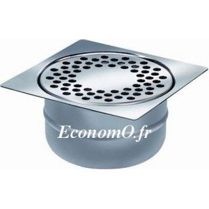 Siphon de Sol en Acier Inoxydable 150 x 150 x 76 mm Grille Vissée à Trous Rond - EconomO.fr