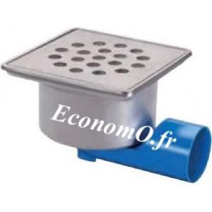 Siphon de Sol en Acier Inoxydable 200 x 200 x 103 mm Grille à Trous Rond - EconomO.fr