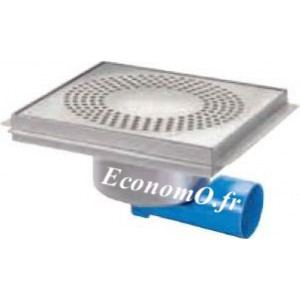 Siphon de Sol en Acier Inoxydable 300 x 300 mm Grille à Trous Rond - EconomO.fr