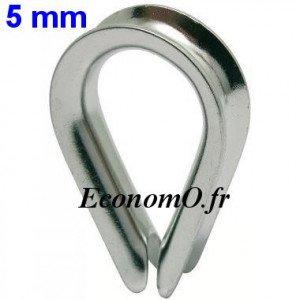 Cosse-Coeur Inox pour Câble de 5 mm - EconomO.fr