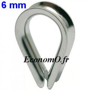 Cosse-Coeur Inox pour Câble de 6 mm - EconomO.fr