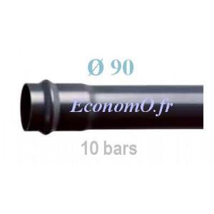 Tube PVC Pression à Emmancher D90 mm PN 10 bars Eau Potable Irrigation ou Evacuation Prémanchonné en Barre de 6 mètres - EconomO