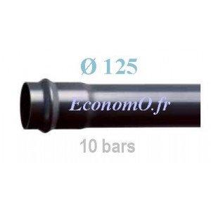 Tube PVC Pression à Emmancher D125 mm PN 10 bars Eau Potable Irrigation ou Evacuation Prémanchonné en Barre de 6 mètres - Econom