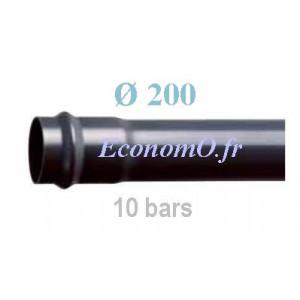 Tube PVC Pression à Emmancher D200 mm PN 10 bars Eau Potable Irrigation ou Evacuation Prémanchonné en Barre de 6 mètres - Econom