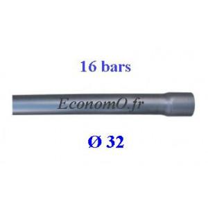 Tuyau PVC Pression à Coller D32 mm PN 16 bars Eau Potable ou Evacuation Prémanchonné en Barre de 6 mètres - EconomO.fr