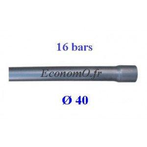 Tuyau PVC Pression à Coller D40 mm PN 16 bars Eau Potable ou Evacuation Prémanchonné en Barre de 6 mètres - EconomO.fr