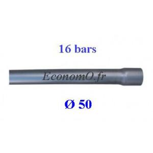 Tuyau PVC Pression à Coller D50 mm PN 16 bars Eau Potable ou Evacuation Prémanchonné en Barre de 6 mètres - EconomO.fr