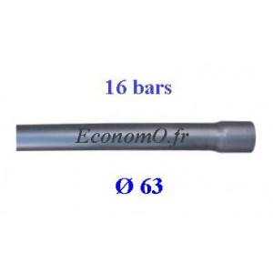 Tuyau PVC Pression à Coller D63 mm PN 16 bars Eau Potable ou Evacuation Prémanchonné en Barre de 6 mètres - EconomO.fr