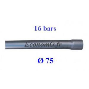 Tuyau PVC Pression à Coller D75 mm PN 16 bars Eau Potable ou Evacuation Prémanchonné en Barre de 6 mètres - EconomO.fr