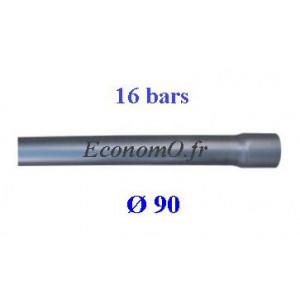 Tuyau PVC Pression à Coller D90 mm PN 16 bars Eau Potable ou Evacuation Prémanchonné en Barre de 6 mètres - EconomO.fr