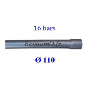 Tuyau PVC Pression à Coller D110 mm PN 16 bars Eau Potable ou Evacuation Prémanchonné en Barre de 6 mètres - EconomO.fr