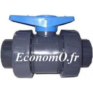 Vanne PVC Pression à Bille Femelle Femelle à Coller Double Union Type COMER Ø 50 - EconomO.fr