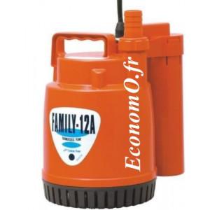 Pompe Serpillère Automatique Tsurumi FAMILY 12A de 1 à 4,5 m3/h entre 5,7 et 1 m HMT Mono 230 V 0,1 kW