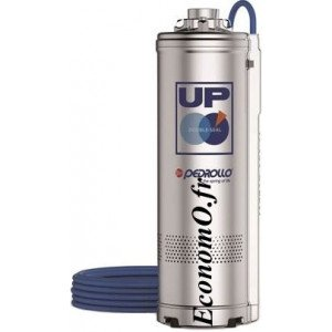 Pompe Immergée Pedrollo pour Puits UP 2/2 de 1,2 à 4,8 m3/h entre 31 et 17 m HMT Tri 400 V 0,37 kW