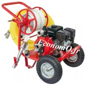 Motopompe Airmec MSHP 50-T Chariot Essence de 3,6 à 17 m3/h entre 75 et 22,5 m HMT 6,5 cv - EconomO.fr