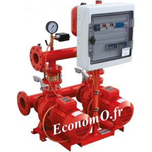 Surpresseur Incendie Calpeda 2 Pompes S11 INC NM50/25A de 24 à 66 m3/h entre 80,5 et 61,5 m HMT Tri 400 V 2 x 18,5 kW - EconomO.